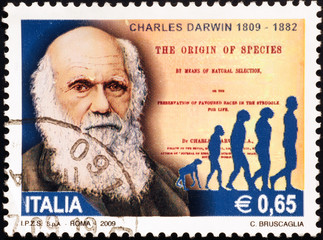 Charles Darwin celebrated on italian postage stamp