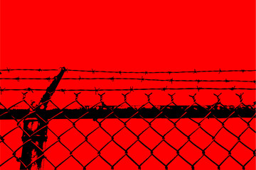 vector no entry barbed stainless steel wire fence silhouette
