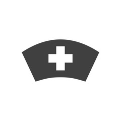 Nurse Hat Glyph Related Vector Icon. Isolated on the White Background. Editable EPS file. Related Vector illustration.