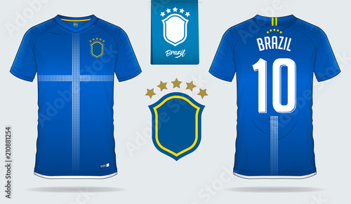 Soccer Jersey Or Football Kit Template Design For Brazil National Team Front And Back