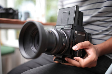 Old fashioned camera with high quality film.