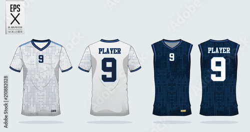 4f83236d28fb Blue square pattern t-shirt sport design template for soccer jersey ...