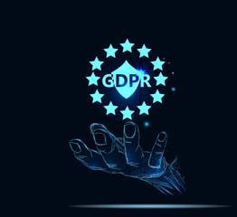 Businessman hand holding sign general data protection regulation (GDPR)