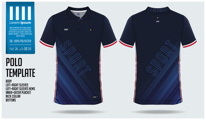 Blue Polo t-shirt sport template design for soccer jersey, football kit or sportwear. Sport uniform in front view and back view. T-shirt mock up for sport club. Vector Illustration.