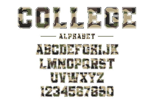 Classic college font with camouflage texture. Vintage sport font in american style for football, baseball or basketball logos and t-shirt, varsity style font