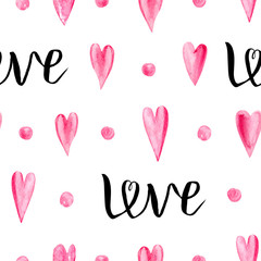 Watercolor seamless pattern with hearts and lettering LOVE. Аbstract background with isolated elements for design.