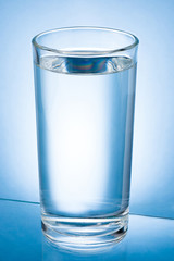 Glass of Water isolated on a blue background