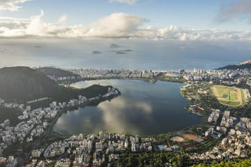 View from Corcovado Mountain to Rodrigo de Freitas Lagoon in Rio de Janeiro, Brazil