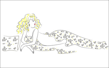 Sexy beautiful blonde girl lies.Drawing brush vector illustratio/ Sexy young blonde is resting. Lies on a wrap with a floral print. Beautiful fabric.Vector illustration EPS 8 graphic in your web site