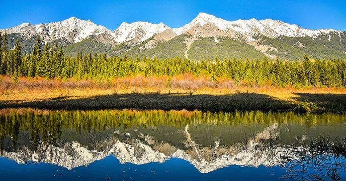 Mitchell Mountain Range reflected in Dog Lake Kootenay National Park