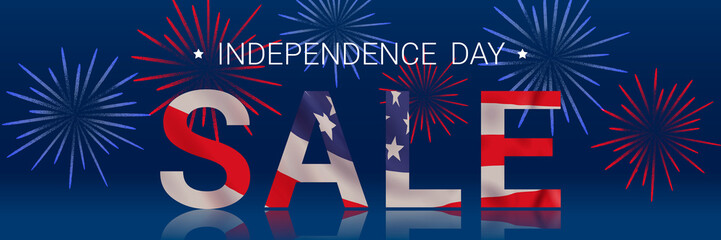 Independence day sale. Vector banner design template.