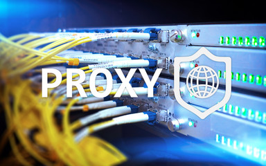 PROXY server, VPN, Virtual Private network technology. Cyber security.