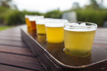 Close up of flight of beer
