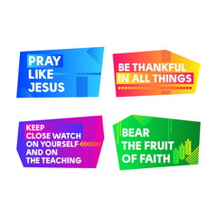 A set of bright colored Christian banners for the church, ministry, conference, camp, etc.