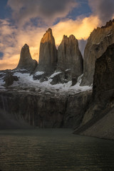 Scenery with mountains at sunset, Torres del Paine National Park, Patagonia, Chile