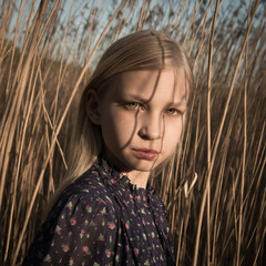 Portrait of girl in field
