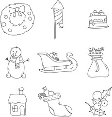 Set of christmas decorative objects isolated on white.