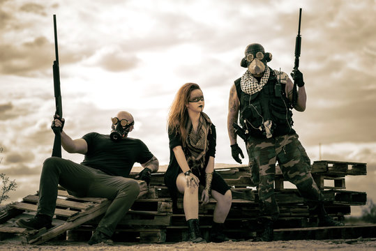 In a post-apocalyptic nuclear wasteland, nomadic warriors fight to see another day. Show in the Southern Californian desert with a nuclear wasteland theme