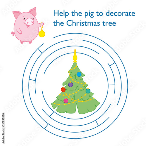Round Puzzle For Children Help The Pig To Reach The Christmas Tree