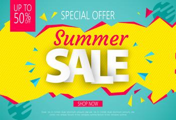 Summer Sale banner design for your business. Vector illustration.