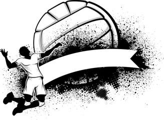 Male Volleyball Grunge Banner