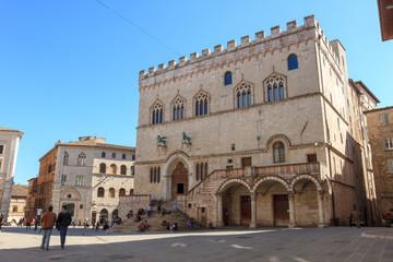 Aluminium Prints Artistic monument Palazzo dei Priori in Piazza IV Novembre (square) in Perugia, Umbria, Italy
