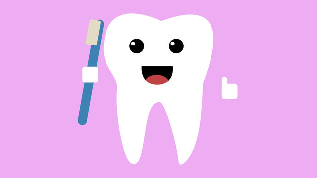 Cartoon happy tooth icon, healthy teeth concept smiling and holding toothbrush whilst giving a thumbs up, pink background