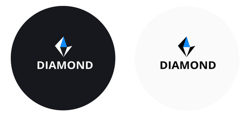 Diamond logo black and blue color - diamond success company icon stylish design - vector