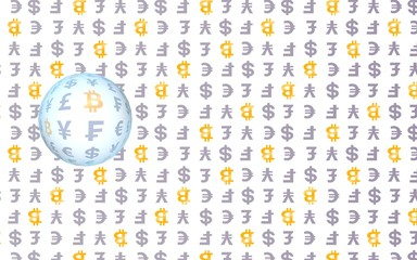 Bitcoin on white background. Digital currency symbol. Wave effect, currency market fluctuations. Business concept. 3D illustration
