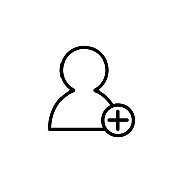 The icon of add new user. Simple outline icon illustration, vector of add new user for a website or mobile application on white background