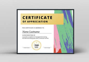 Award Certificate Layout with Abstract Accents