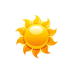 Vector illustration eps10, isolated on white background. Realistic vacation travel symbol, weather season design, 3d elegant hot sun, sunbeam. Cartoon cute sea beach icon, flat sign