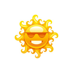 Vector illustration eps10, isolated on white background. Realistic vacation travel symbol, weather season design, 3d elegant hot smiling sun sunglasses, sunbeam. Cartoon cute sea beach icon, flat sign