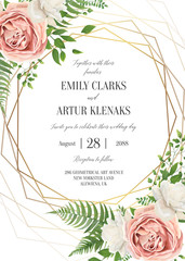 Wedding floral invite, invtation card design. Watercolor lavender pink rose, white garden peony flowers blossom, green leaves, greenery fern leaves & golden geometrical frame. Vector romantic template