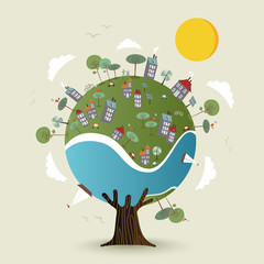 Green planet earth tree with sustainable city
