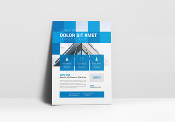 Business Flyer Layout with Blue Square Elements