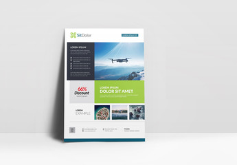 Business Flyer Layout with Green and Blue Accents