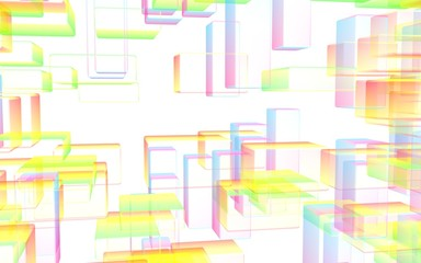 Colorful abstract digital and technology background. The pattern with repeating rectangles. 3D illustration