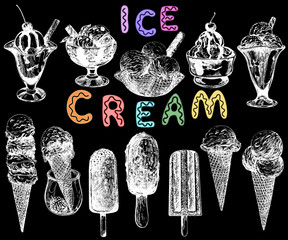 Set of hand drawn sketch style ice cream isolated on black background. Vector illustration.