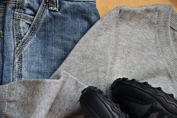 Clothing for boy, school uniform, jeans, sweater, sneakers