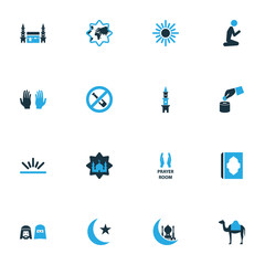 Religion icons colored set with mecca, people, prayer and other minaret  elements. Isolated vector illustration religion icons.