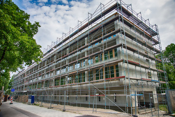 Munich, Germany - June 9, 2018: Construction site of new building - new building under construction