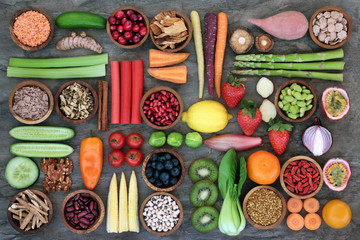 Foto auf Leinwand Sortiment Health food for healthy eating concept with foods high in omega 3, antioxidants, anthocyanins, minerals, vitamins and dietary fibre. Top view.