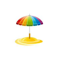 Vector illustration eps10, isolated on white background. Realistic vacation travel symbol, relaxation design, 3d beach striped rainbow parasol umbrella. Cartoon cute suntan sea beach icon, flat sign