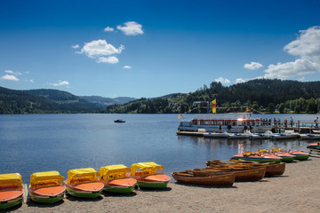Yellow boats at the promenade beach of Titisee in the Black Forest / Germany