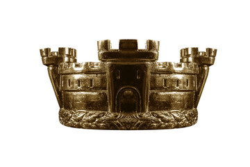 Gold crown isolated on white.
