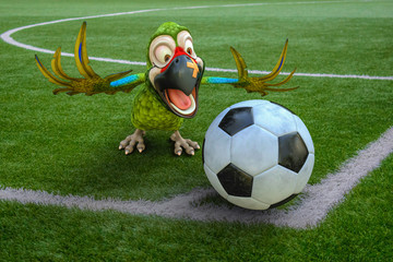 parrot cartoon football corner