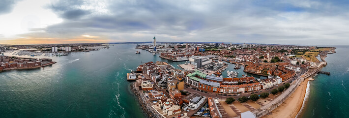 Aerial view of Portsmouth in the evening, UK
