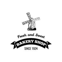 Mill badge. Bakery shop logo, label. Fresh pastry sign. Frash and sweet inscription. Vector.