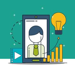 businessman smartphone video idea chart digital marketing